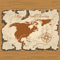 Vector old parchament. Map of North America. Royalty Free Stock Photo