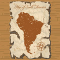 Vector old parchament. Map of South America. Royalty Free Stock Photo