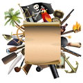 Vector Old Scroll with Pirate Accessories Royalty Free Stock Photo
