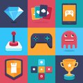 Vector online and mobile game icons and signs concepts for apps trendy illustrations in flat style Stock Photography