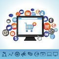 Vector online shopping concept computer and techology icons Royalty Free Stock Photo