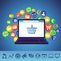 Vector online shopping concept laptop and techology icons Stock Photo
