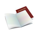 Vector open international passport template with clean pages Royalty Free Stock Photo