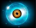 Vector orange eyeball future technology on blue background.