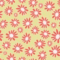 Vector Orange gerbera flowers seamless pattern background. Daisies on a neutral background. Royalty Free Stock Photo