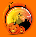 Vector orange halloween spooky background with bats cats pumpkins witch and graves for poster flyer invitation card or brochure Royalty Free Stock Image