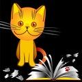 Vector Orange kitten bully broke a book Stock Photo
