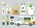 Vector organic restaurant design set street food truck health shop flyer menu package t shirt cap uniform and display Royalty Free Stock Photo