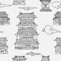 Vector oriental seamless pattern with asian architecture Royalty Free Stock Photo