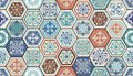 Vector Oriental seamless pattern. Realistic Vintage Moroccan, Portuguese hexagonal tiles. Royalty Free Stock Photo
