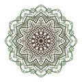 Vector abstract green brown twelve-pointed mandala.