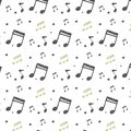Vector Ornament with musical notes in Doodle style. Pattern with hand-drawn musical elements