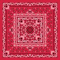Vector ornament paisley Bandana Print. Silk neck scarf or kerchief square pattern design style, best motive for print on Royalty Free Stock Photo