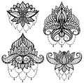 Tattoo design with four lotus on white Royalty Free Stock Photo