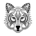 Vector ornamental Wolf, ethnic zentangled mascot, amulet, mask