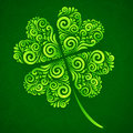 Vector ornate clover on dark green background Royalty Free Stock Image