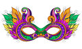 Vector Ornate Colored Mardi Gras Carnival Mask with Decorative Feathers