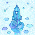 Vector ornate doodles rocket starting to space blue Royalty Free Stock Photo