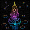 Vector ornate doodles rocket starting to space blue Royalty Free Stock Image