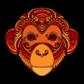 Vector Ornate Monkey Head. Patterned Tribal Colored Design Royalty Free Stock Photo