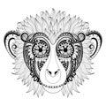 Vector Ornate Monkey Head Royalty Free Stock Photo