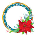 Vector ornate Poinsettia or Christmas Star, green leaves and decorative round frame with mosaic isolated. Royalty Free Stock Photo