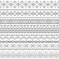 Vector ornate seamless borders in Eastern style.Line art vintage