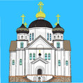 Vector orthodox church with domes crosses and bells isolated on a blue background Stock Photography