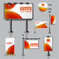 Vector Outdoor advertising design for company with color circles Elements of stationery printing media Light box banner Roll Up fl Royalty Free Stock Photo