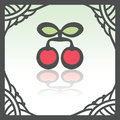 Vector outline cherry fruit icon. Modern infographic logo and pictogram.