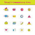 Vector outline colorful 16 e-commerce icons set in Royalty Free Stock Photo