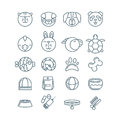 Vector outline pet shop, zoo or veterinary icons set.