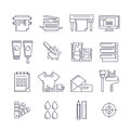 Vector outline printing icons set. Printer, plotter, paints and