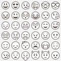 Vector Outlined Emoticon big set