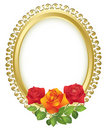 vector oval golden frame with roses Royalty Free Stock Photo