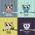 Vector owls set of with text quotes Royalty Free Stock Photo