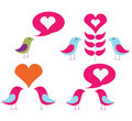 Vector pack of love birds Royalty Free Stock Photo