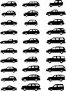 Vector pack various car silhouettes Royalty Free Stock Photography