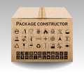 Vector package box  on white. Packaging symbols Royalty Free Stock Photo