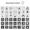 Vector packaging symbols on white background. Shipping icon set including recycling, fragile, the shelf life of the product, flamm