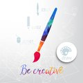 Vector paint brush silhouette made of watercolor, creative icons, watercolor creative concept. Vector concept - creativity and