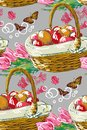 Vector paint style design flower colorful basket
