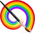 Vector paintbrush with acrylic painted rainbow realistic Royalty Free Stock Images