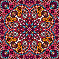 Vector paisley oriental kerchief, pillow, blanket design.