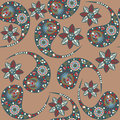 Vector paisley seamless pattern and in swatch menu oriental can be used for Stock Images