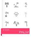 Vector palm icon set Royalty Free Stock Photo