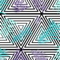 Vector palm leaves on monochrome triangle background. Repetition botanical pattern. Blue purple texture Royalty Free Stock Photo
