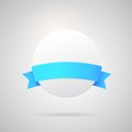 Vector paper badge with blue silk ribbon Royalty Free Stock Photo