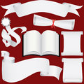 Vector paper banners, scrolls and diploma set Stock Image