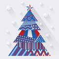 Vector paper christmas tree simple made from pieces of color original new year card Stock Photos